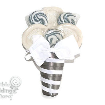 Silver and White Lollipop Bouquet, Lollipop Bouquet, Candy Bouquet. Wedding, Bouquet, Candy, Lollipop, Bridesmaid, Bridal Party, Silver