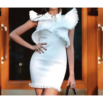 Summer new fashion elegant slim large lotus leaf sleeve tassel dress