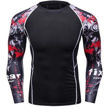 Muscle Men 3D Prints Compression Shirts T-shirt Long Sleeves Thermal Under Top MMA Rashguard Fitness Base Layer Weight Lifting