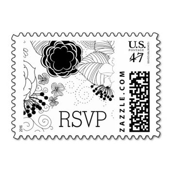 Classy Black and White Floral RSVP Stamp