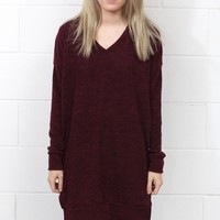 Total Classic V-neck Sweater Tunic {Burgundy}