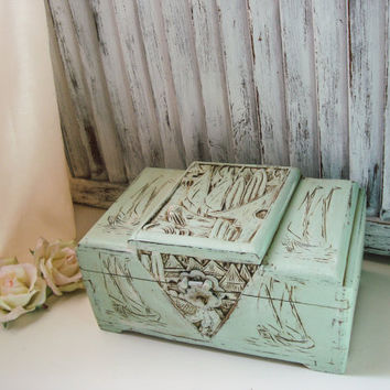 Vintage Asian Carved Wooden Jewelry Box, Mint Green Distressed Wooden Jewelry Holder, Unisex Jewelry Storage Box, Antique Green Box
