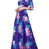 Women's Vintage Floral Printed Half Sleeve Maxi Party Cocktail Prom Dress AM-05 = 1930035652