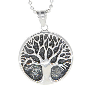 "Dear Deer Stainless Steel ""Tree Of Life"" Medallion Pendant Necklace"