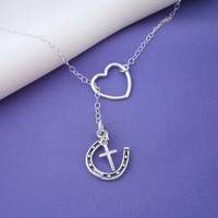 Lucky Horseshoe Cross Lariat Necklace in sterling silver - for horse lovers or luck lovers