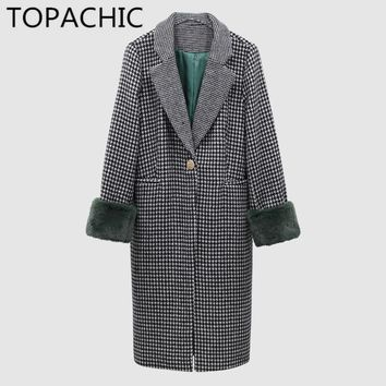 2017 Winter Autumn Women Vintage Houndstooth Wool Coat Cashmere High Quality Warm Japanese Style Plaid Woolen Coat