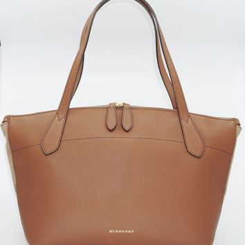 Burberry Women's Medium Welburn Check and Leather Tote Bag,Tan, MSRP $1,250