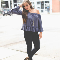 Ruffled Babydoll Top in Charcoal
