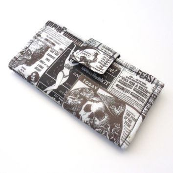 Vegan Grindhouse Long Bifold Clutch Horror Movie Fabric Wallet- Black and White