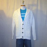 Vintage 70s SHAWL COLLAR CARDIGAN Warm Heavy Acrylic Comfortable Hip Off White Medium Sweater