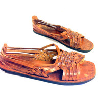 SALE Brown Leather Huarache Sandals 10 - Flat Woven Chestnut Ethnic Strappy Sandals