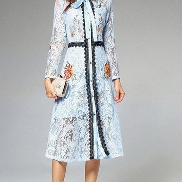Floral Embroidered Midi Dress W/ Tie