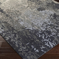 Brocade Area Rug | Gray Medallion and Damasks Rugs Hand Knotted | Style BRC1010