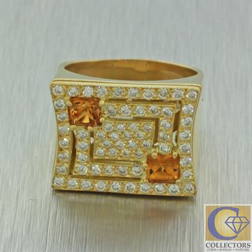 Vintage Estate 18k Solid Yellow Gold Citrine Diamond Cluster Wide Cocktail Ring