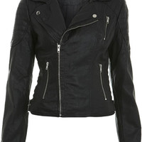 Black Stitch Detail Biker Jacket