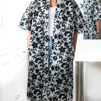 NEW SPRING 2016 Black and White Extravagant Coat, Maxi Coat, Oversized Coat, Plus size clothing, Plus size coat,Floral Coat , Chic Coat