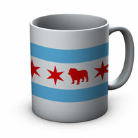 Chicago Flag Bulldog Ceramic Mug  - Chicago Coffee Mug - Bulldog Mug - Dog Mug - Coffee Cup - Gift for Bulldog Lovers - Bulldog Coffee Mug
