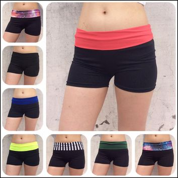 Women Yoga Shorts Breathable Quick Dry Sport Shorts Without Pockets Girls Running Fitness Gym Black Beach Shorts