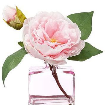 "Artificial Pink Peony Arrangement in Glass Vase - 9"" Tall"