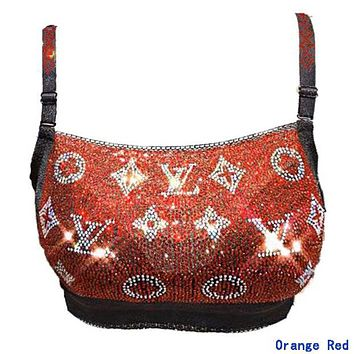 LV Louis Vuitton Newest Popular Women Sexy Luxury Shiny Diamond Bra Orange Red