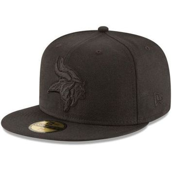Minnesota Vikings New Era 59FIFTY NFL Black On Black Fitted Cap 5950 Hat