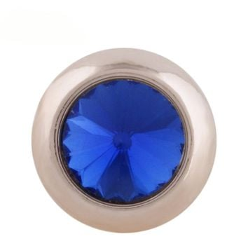 "Snap Charm Rose Gold Border Blue Crystal 12mm Mini Size 1/2"" Diameter Fits Ginger Snaps"