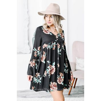 Babydoll Charcoal Floral Printed Dress