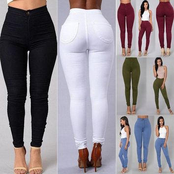 CREYYN6 Women Denim Skinny Leggings Pants 2017 New Arrive High Waist Stretch Jeans Slim Pencil Trousers Army Green White Red Blue Black