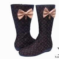 LV Louis Vuitton Fashion Bow Leather High Boot Shoes