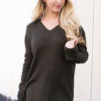 Winter Knit Sheer Sweater | Olive