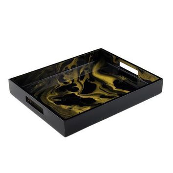 Black Gold Marble Paper Inlay with Lacquer Reiko Tray