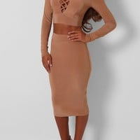 Morelle Camel Slinky Two Piece Set | Pink Boutique
