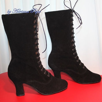 Halloween Boots Black Victorian Boots Ankle boots in suede leather Order your customised size for wider feet and strong calf