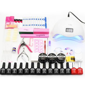 Nail Set Gel Nail Polish Kit 48W/36W UV LED Lamp Dryer 12pcs Nail Gel Polish Manicure Tools Set UV Extension Kit Nail Art Tools