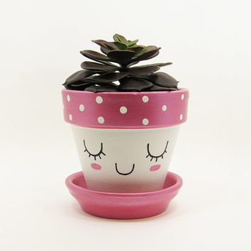 Succulent Planter, Terracotta Pot, Cute Face Planter, Air Plant Holder, Plant Pot, Flower Pot, Indoor Planter, Kawaii Planter, Pink Pot