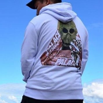 ac NOVQ2A Palace autumn and winter skull triangle printing plus velvet hood hooded sweater White