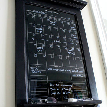 Wall Decor Black Dry Erase Calendar Family Kitchen or Office Organizer Monthly Planner with shelf and key hooks