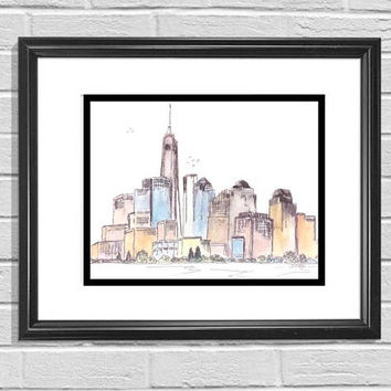 Watercolor Skyline, New York Original, Pen and Ink Print, City Skyline, Modern artwork, Minimalist drawing, travel art, NYC urban wall art