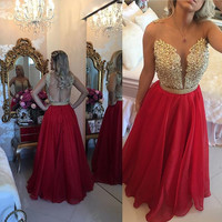 Vestidos Longo Appliques Lace Burgundy Gold Champagne Red Bridesmaid Dresses Long 2016 Wedding Party Dress With Crystal Sash