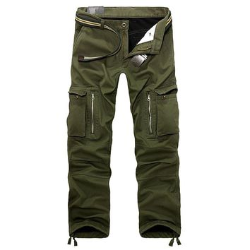Winter Men Casual Multi Pockets Military thicken Fleece Pants Plus size Men's Cargo Trousers Loose thermal Warm pants 101403