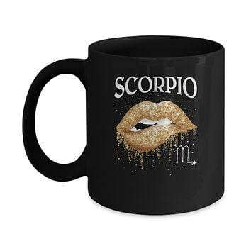 Scorpio Zodiac October November Birthday Gift Golden Lipstick Mug