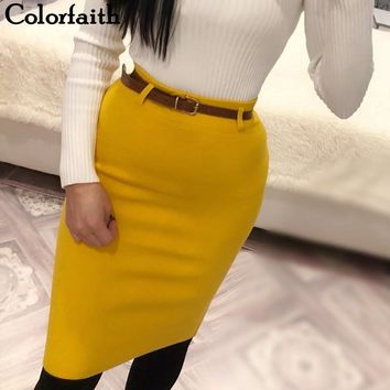 Colorfaith New 2019 Women Solid Multi Colors Knitting Package Hip Pencil Midi Skirt Autumn Winter Belt Bodycon Femininas SK6008
