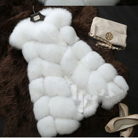New Fashion 2016 autumn winter fur vest Wool Cashmere Faux Fox Fur Coat Cardigan Women loose Poncho Knitted Sweater Women Scarve