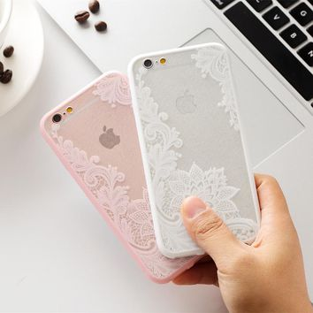 Sexy Retro Floral Phone Case For Apple iPhone 5 S5 SE Lace Flower Hard PC+TPU Cases Back Cover Capa For iPhone 6 6S