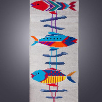"Handwoven unique wool rug - ""Clowns Fiesta"" - handmade piece of fibre art for your home decor by Rugs N' Bags"