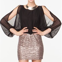 A'GACI Dolman Slit Sleeve Sequin Dress - DRESSES