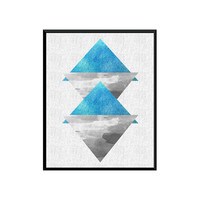 Triangle print, minimalist decor, Scandinavian print, mid century modern, Watercolor print, geoemtric abstract, home wall art, modern art