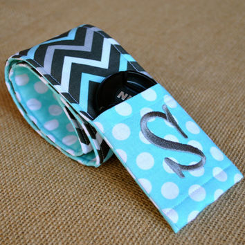 Monogrammed chevron camera strap cover (blue/gray)