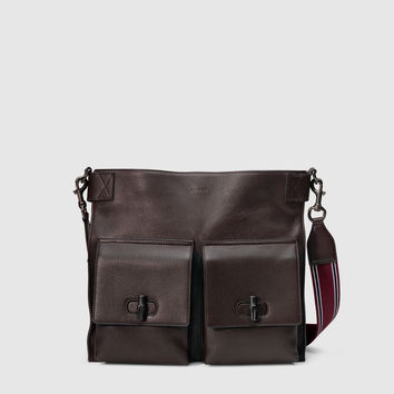 leather messenger bag with bamboo details 387095A88KR2173