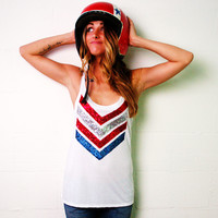 Fourth of July Sequin Chevron Tank